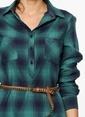Lee Cooper Ekoseli Gömlek Elbise Yeşil